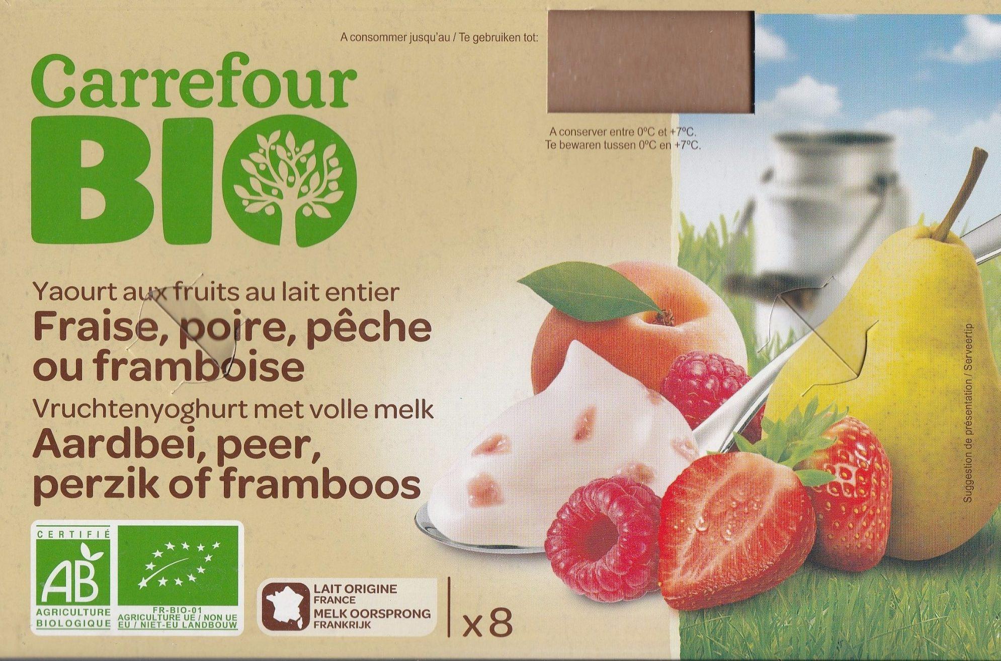 Yaourts aux fruits au lait entier Fraise, poire, abricot ou framboise - Product - fr