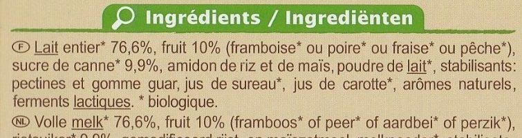 Yaourts aux fruits au lait entier Fraise, poire, abricot ou framboise - Ingrediënten