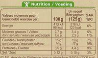 Yaourts aux fruits au lait entier Fraise, poire, abricot ou framboise - Voedingswaarden