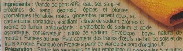 saucisses de francfort - Ingrediënten - fr