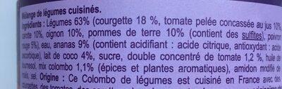Colombe de légumes cuisinés à la créole - Ingredienti - fr