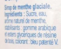 Sirop, Menthe-Glaciale - Ingrediënten - fr