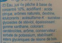 0% sucres Boisson concentrée à diluer avec édulcorants - Ingrédients