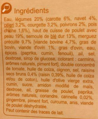 Couscous Poulet Merguez - Ingrediënten