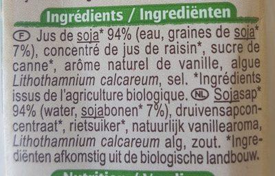 Boisson soja Saveur vanille - Ingrédients