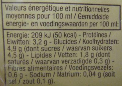 Boisson soja Saveur vanille - Informations nutritionnelles