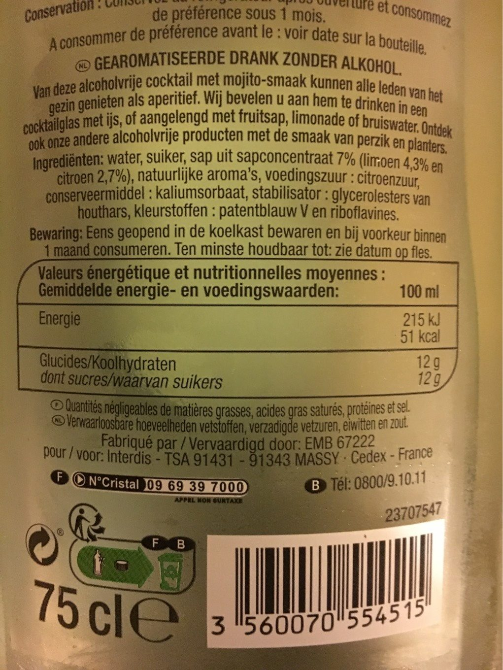 Mojito Sans Alcool - Nutrition facts