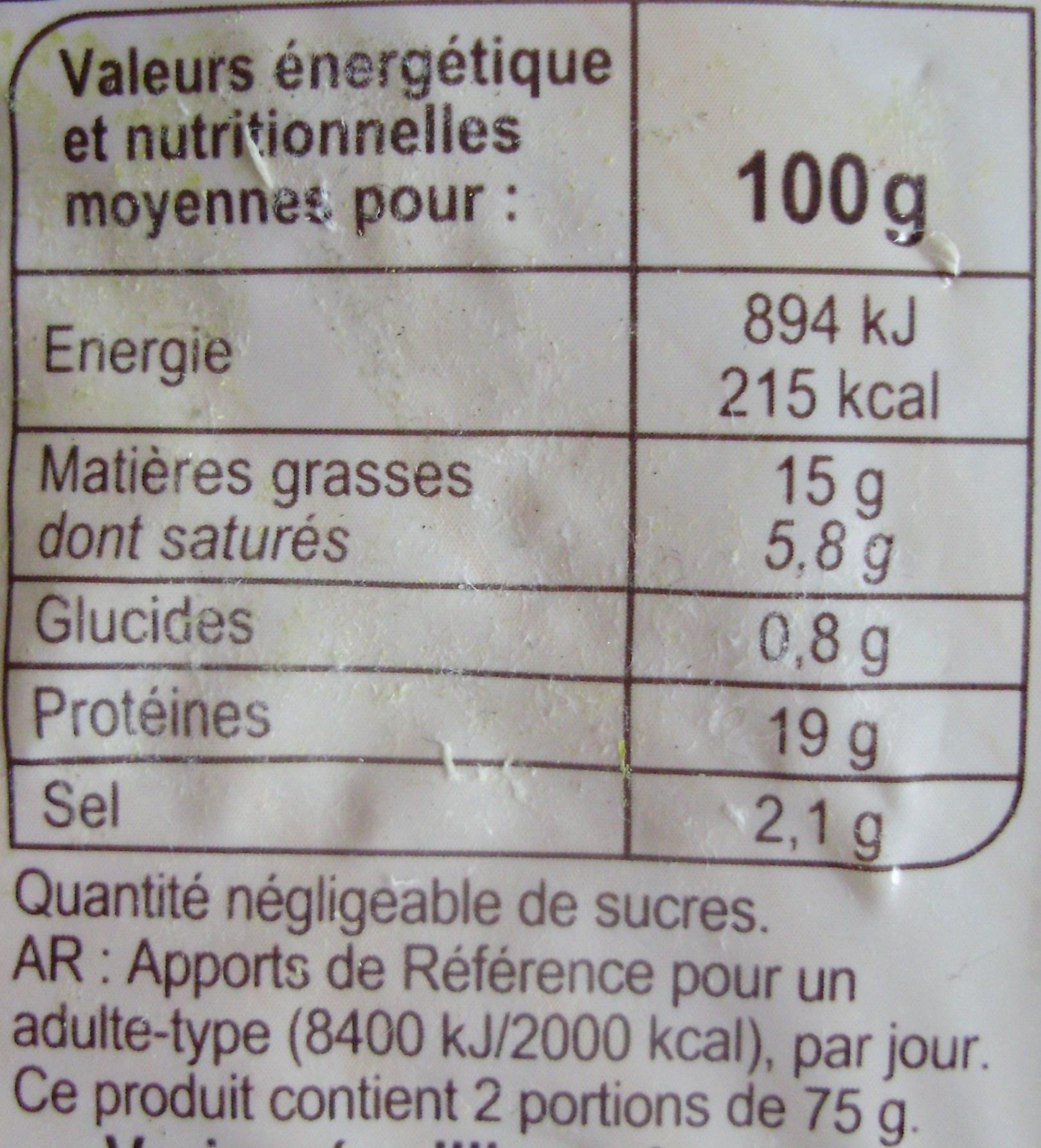 Lardons fumés -25% de sel*  *Par rapport à la moyenne des lardons du marché. - Nutrition facts