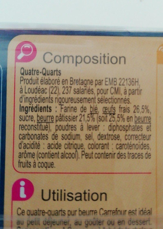 Quatre-Quarts Pur beurre - Ingredients