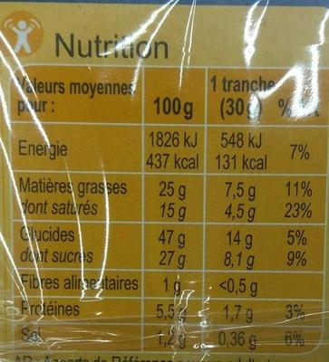 Quatre-Quarts Pur beurre - Nutrition facts