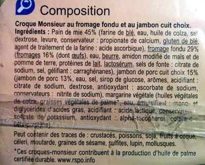 Croque Monsieur Jambon Fomage - Ingrédients - fr