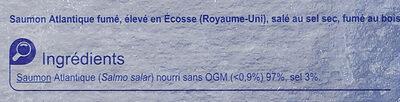 Saumon Fumé D'ecosse Fumé Au Bois De Hêtre - Ingredients - fr