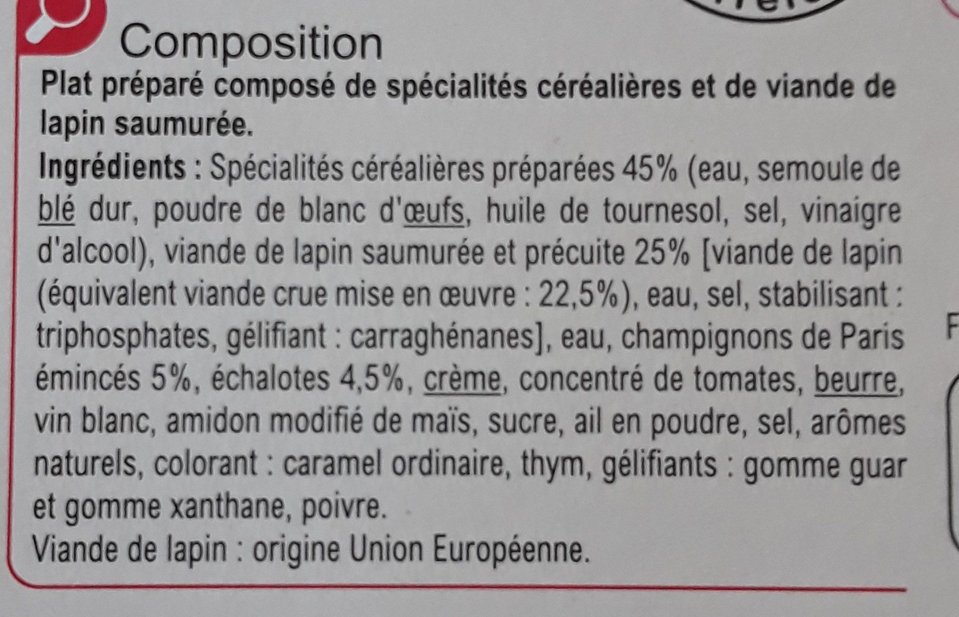 Lapin chasseur et ses pâtes pépinettes - Ingrédients - fr