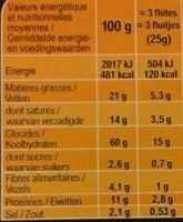Flûtes tomate olive noir origan - Voedingswaarden