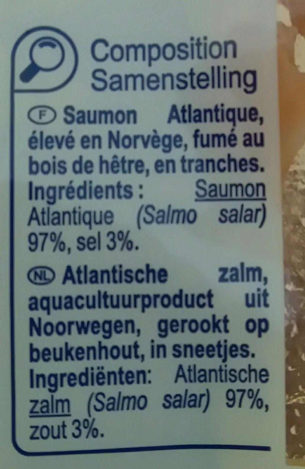 Saumon fumé décongelé élevé en Norvège - Ingrédients - fr