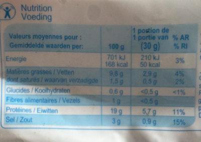 Saumon fumé décongelé élevé en Norvège - Informations nutritionnelles - fr