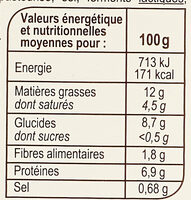 Torsades aux 3 fromages - Informations nutritionnelles - fr