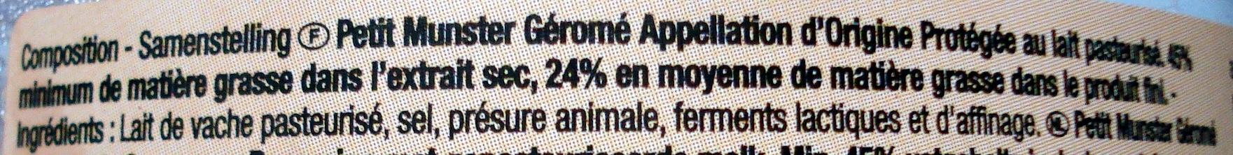 Petit Munster Géromé AOP (24 % MG) - Ingredients - fr