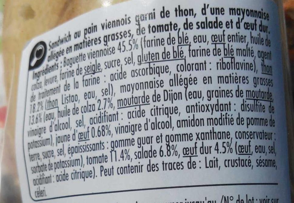 Thon crudités œuf Baguette viennoise - Ingredients