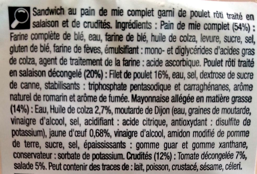 Trio Poulet Crudités - Ingrédients - fr