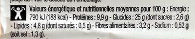 Trio Poulet Crudités - Informations nutritionnelles - fr