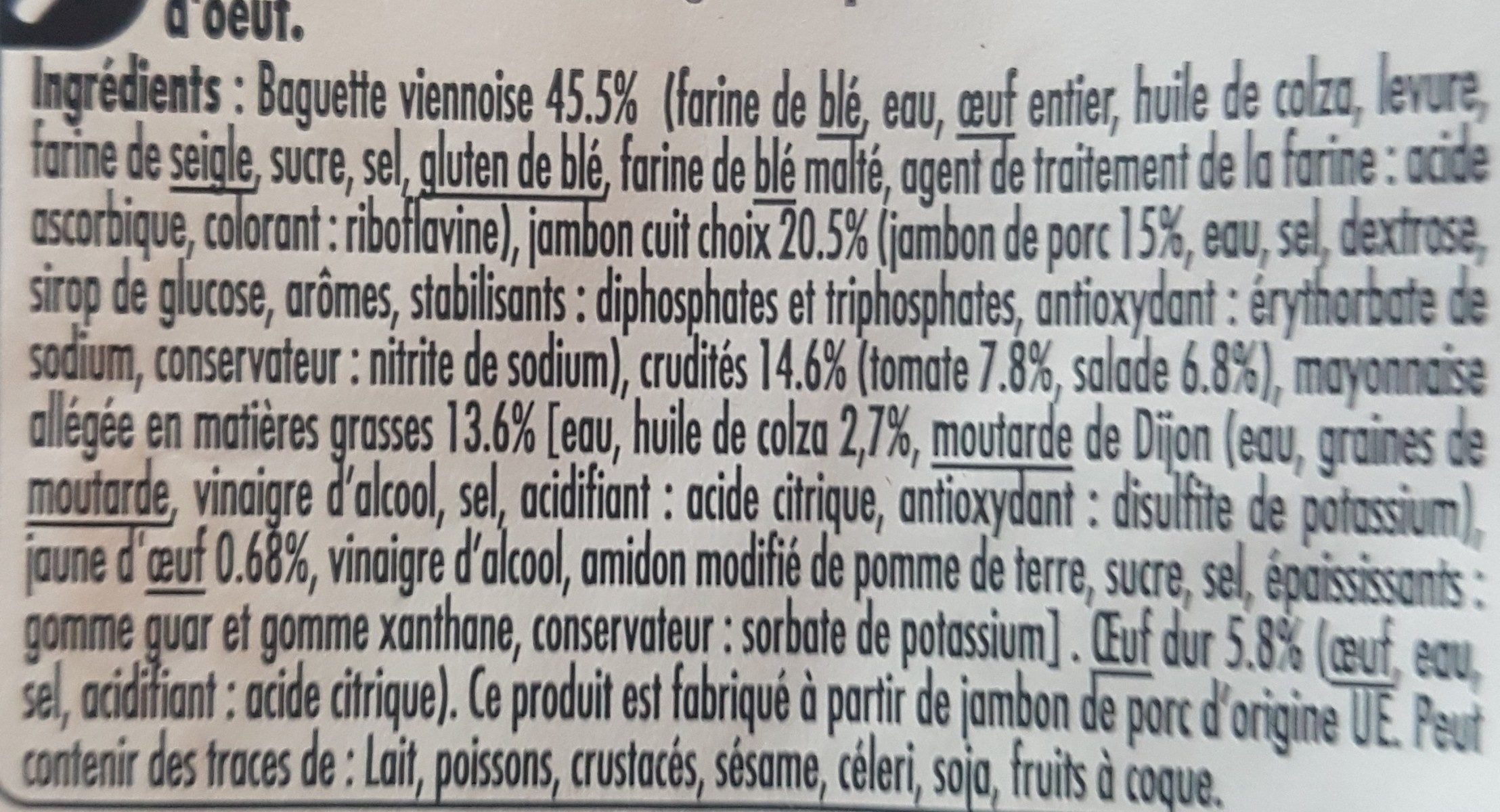 Jambon crudités oeuf Baguette viennoise - Ingrédients - fr