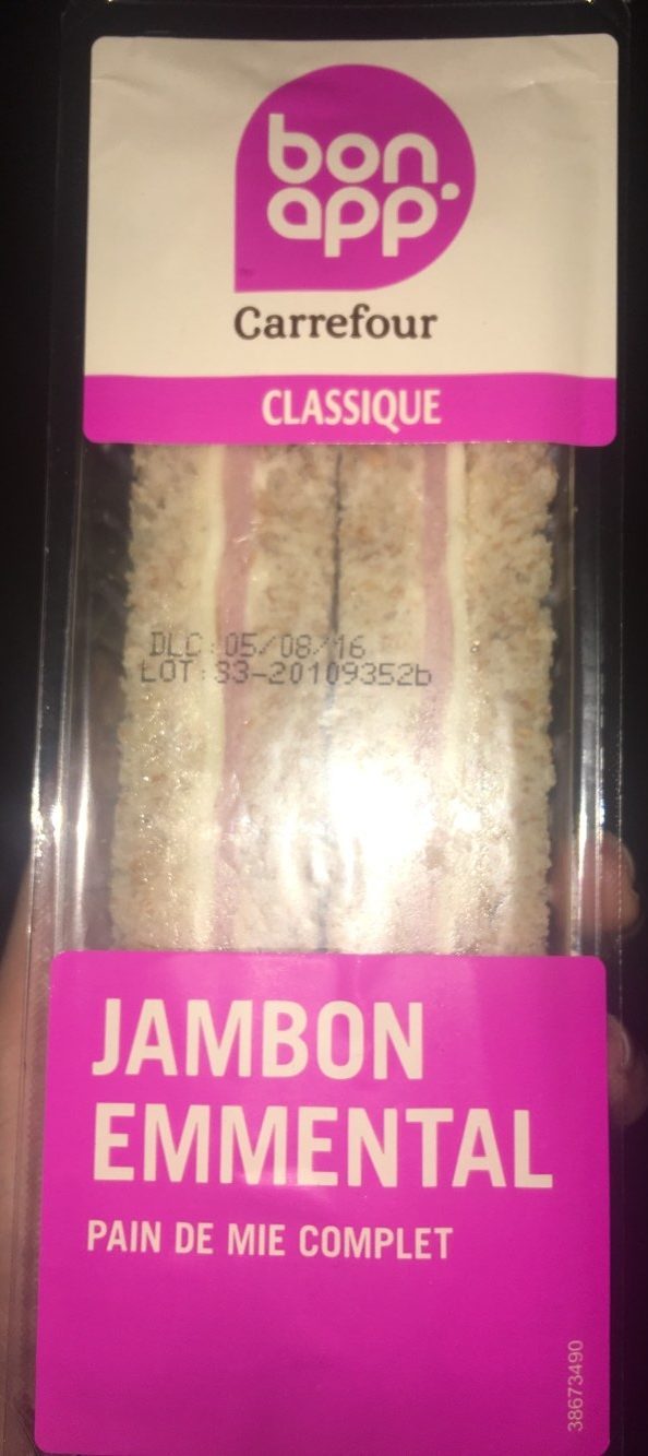 Sandwich Jambon emmental pain de mie complet - Produit - fr