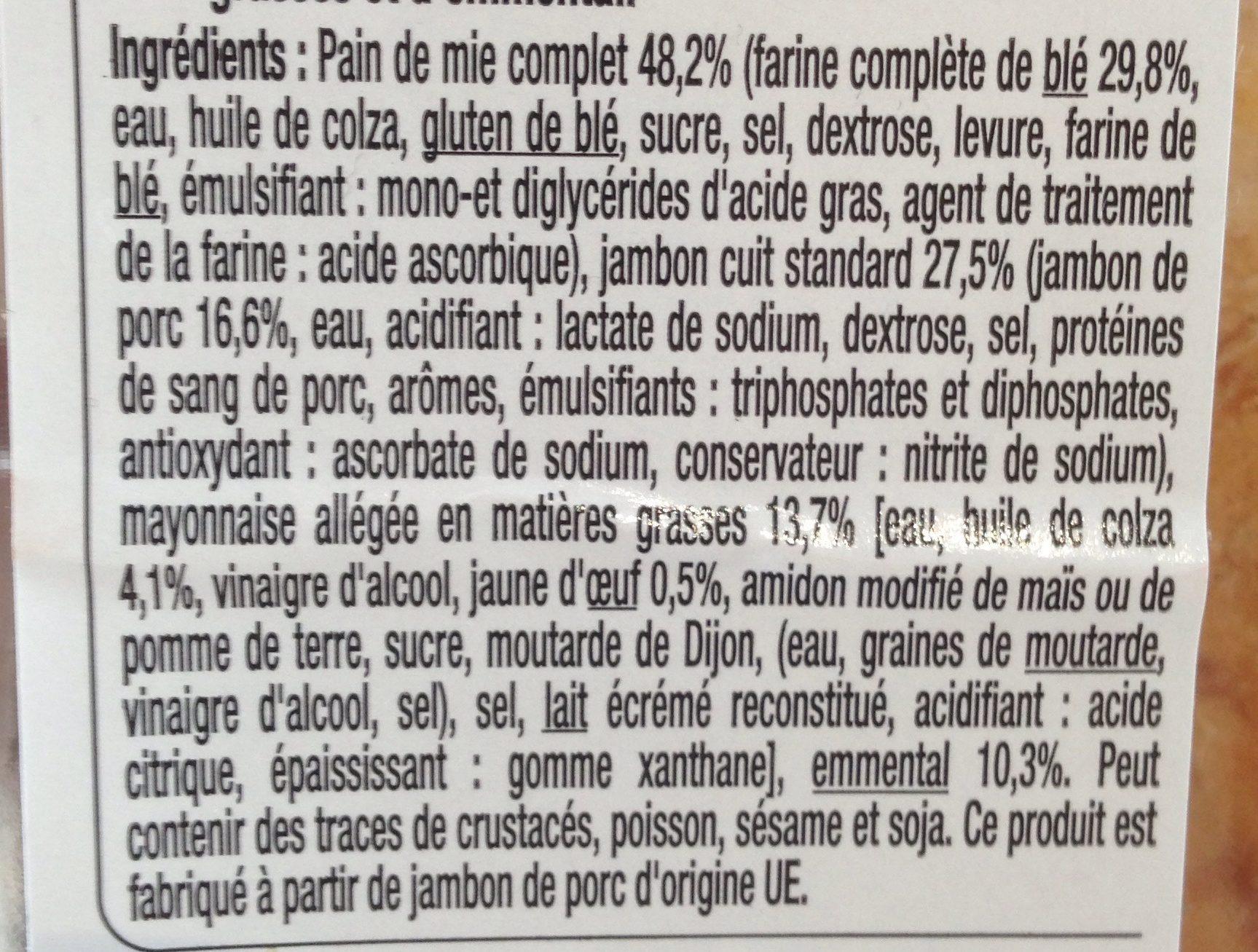 Sandwich Jambon emmental pain de mie complet - Ingrédients - fr