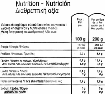 "Judías verdes redondas troceadas congeladas ecológicas ""Carrefour Bio"" - Informations nutritionnelles - es"