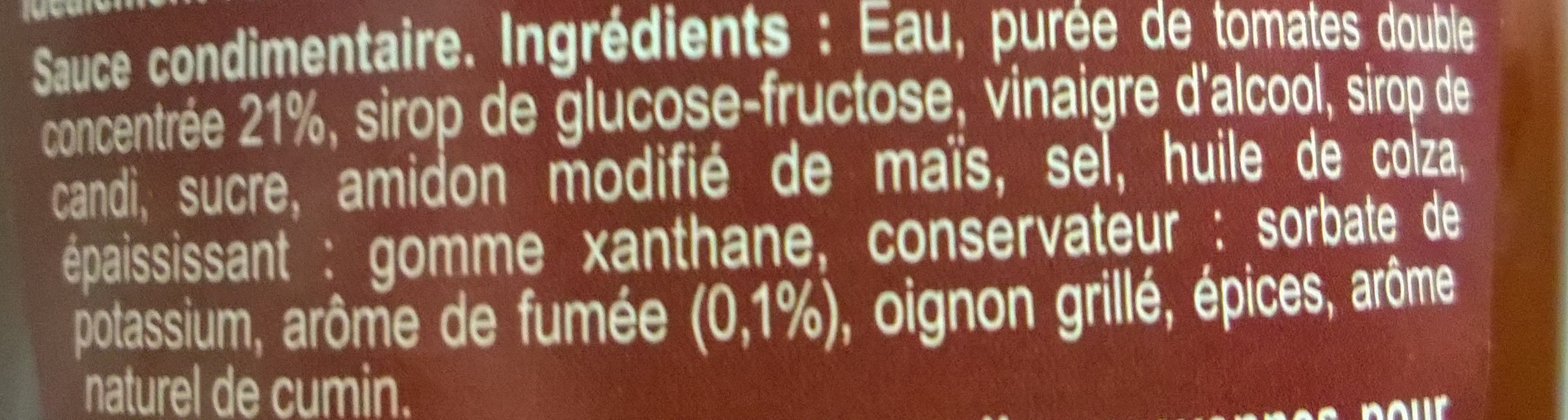 Sauce barbecue - Ingredients