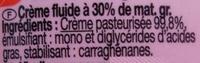 Fleurette - Ingrediënten - fr