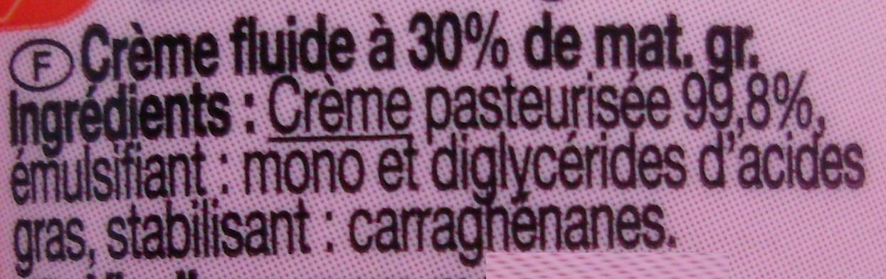 Crème entière fluide Fleurette - Ingredients - fr