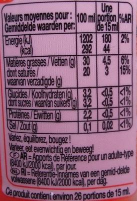 Crème entière fluide Fleurette - Nutrition facts - fr