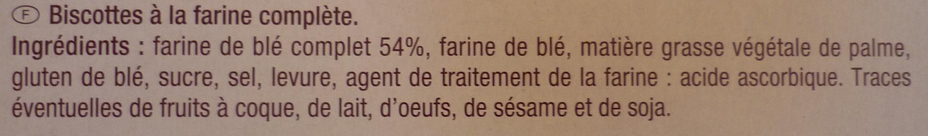100 biscottes à la farine complète - Ingrédients - fr