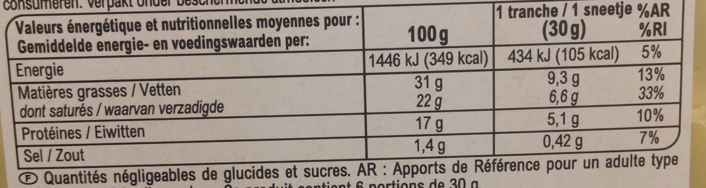 Tranches gourmandes spécial Sandwich (31% MG) - Nutrition facts - fr