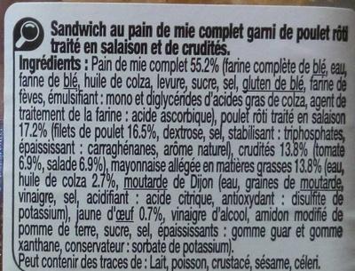 Poulet Crudités pain de mie complet - Ingredients