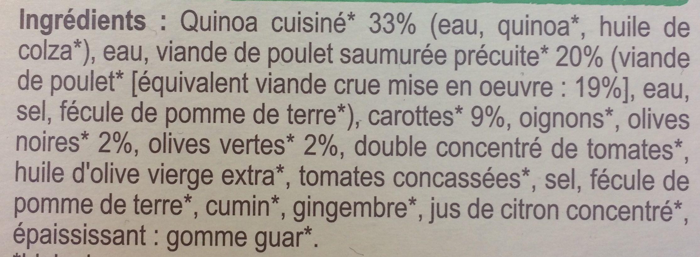 Poulet sauce aux olives et quinoa Bio - Ingrédients