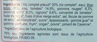 Thon basquaise, légumes et riz complet bio - Ingredients