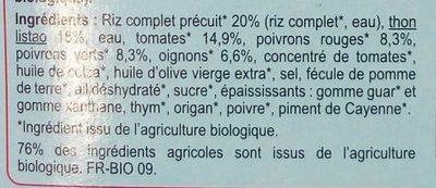 Thon basquaise, légumes et riz complet bio - Ingrédients