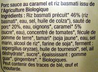 Porc au caramel et riz Basmati Bio - Ingrédients