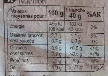 Blanc de  poulet  Doré au Four - Nutrition facts - fr