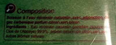 Les aromatisées- Intensément pétillante saveur Citron vert Citron - Ingredients - fr