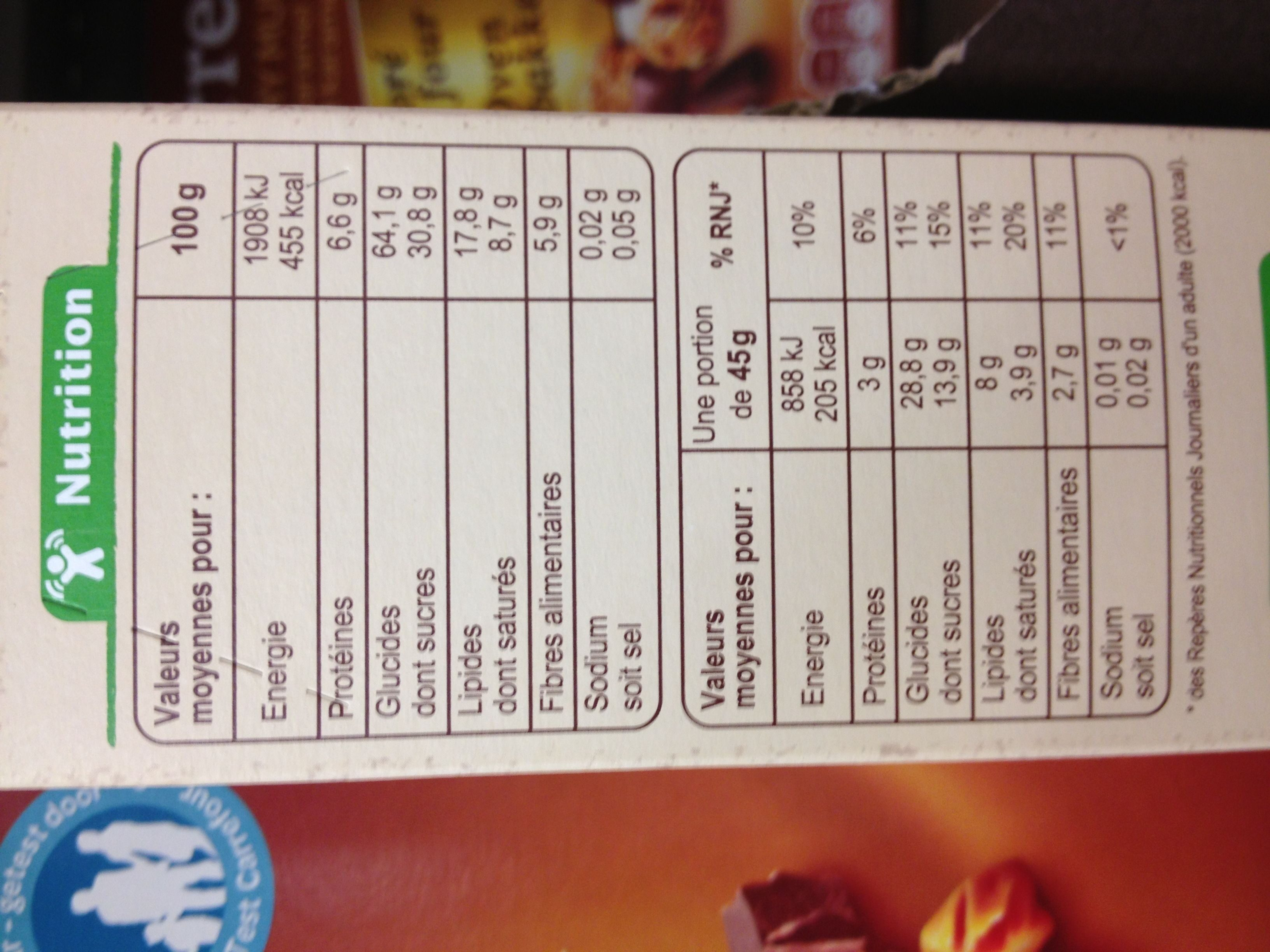 Muesli croustillant aux 6 fruits secs - Nutrition facts - fr