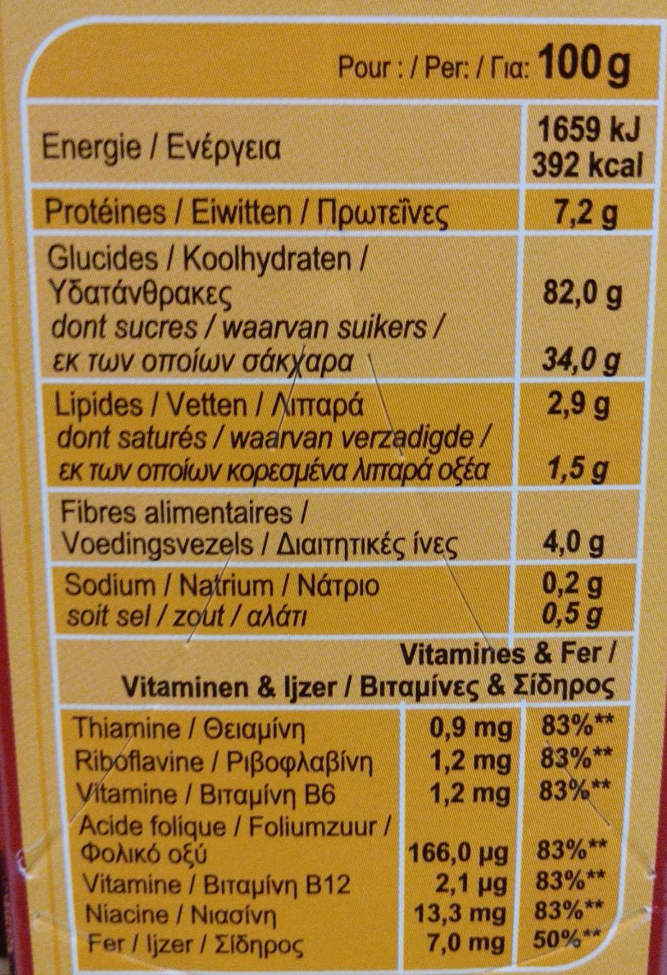 Electro Choc - Informations nutritionnelles - fr