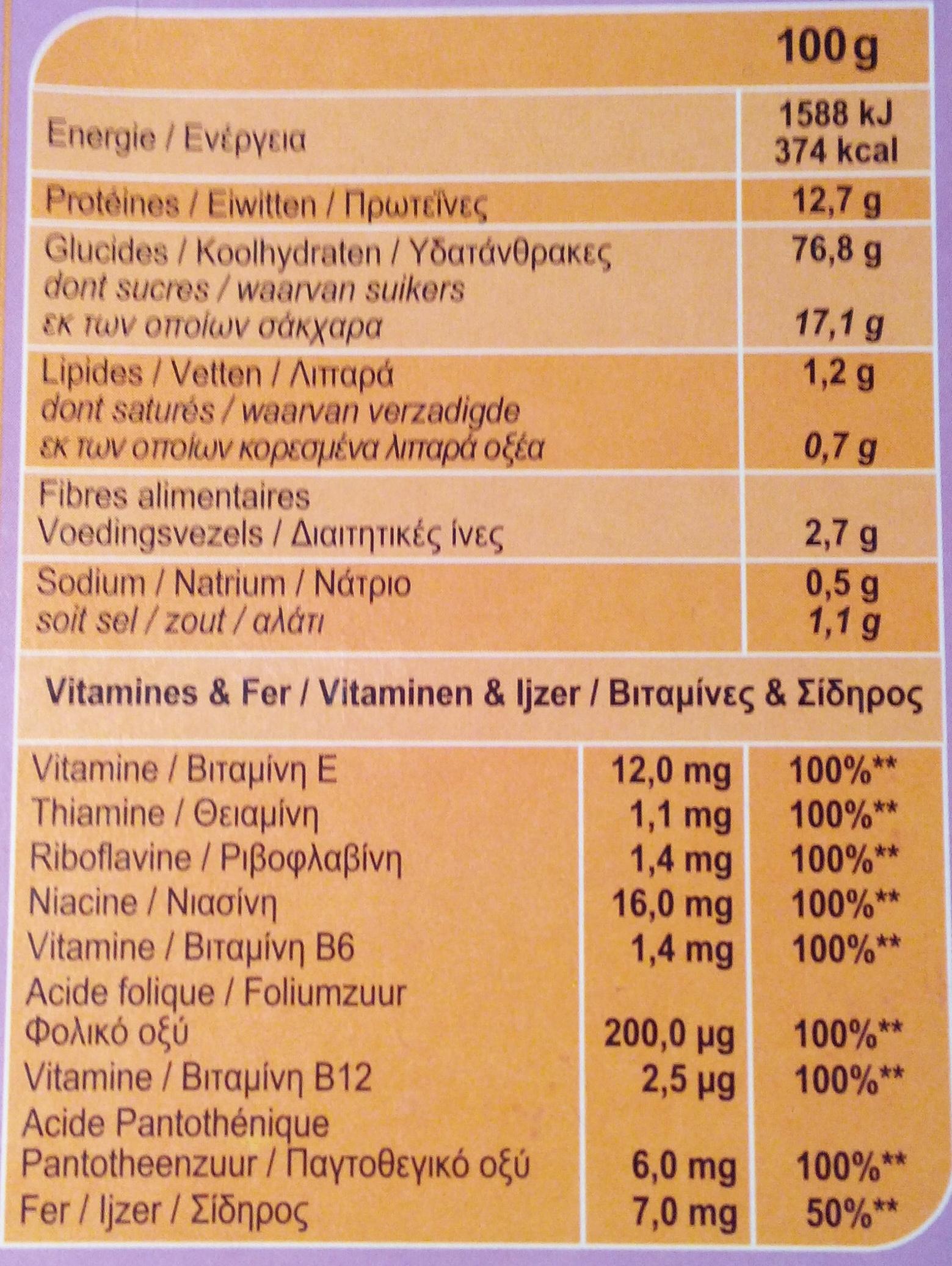 Stylesse Copos de arroz, trigo integral y cebada integral - Información nutricional