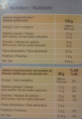 Stylesse chocolat noir - Informations nutritionnelles - fr