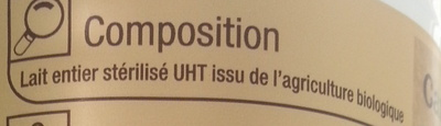 Lait entier Bio  Stérilisé UHT - Ingrédients - fr