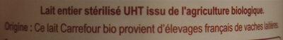 Lait entier Bio Stérilisé UHT - Ingredienti - fr