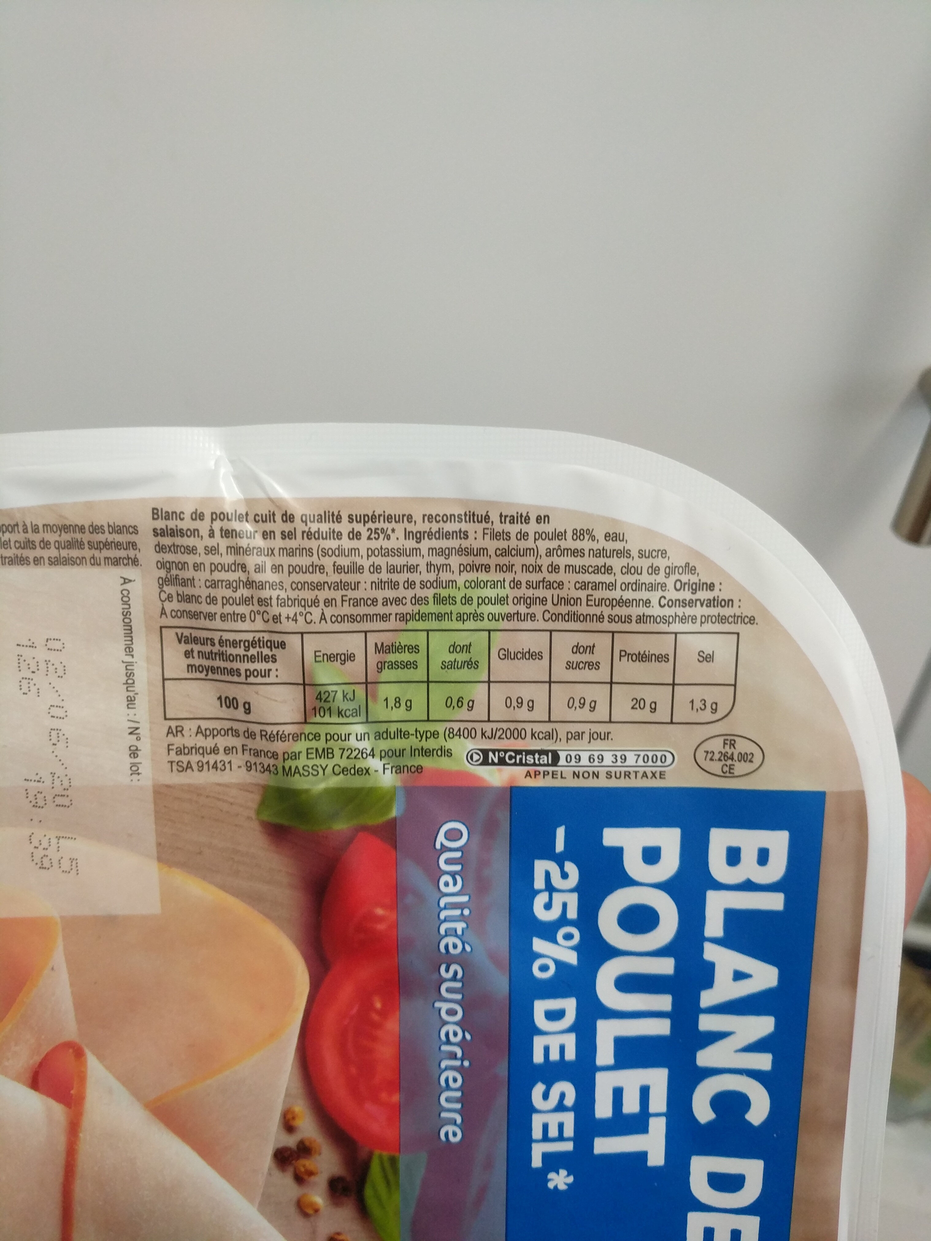 Blanc de  poulet -25% de sel* - Informations nutritionnelles - fr