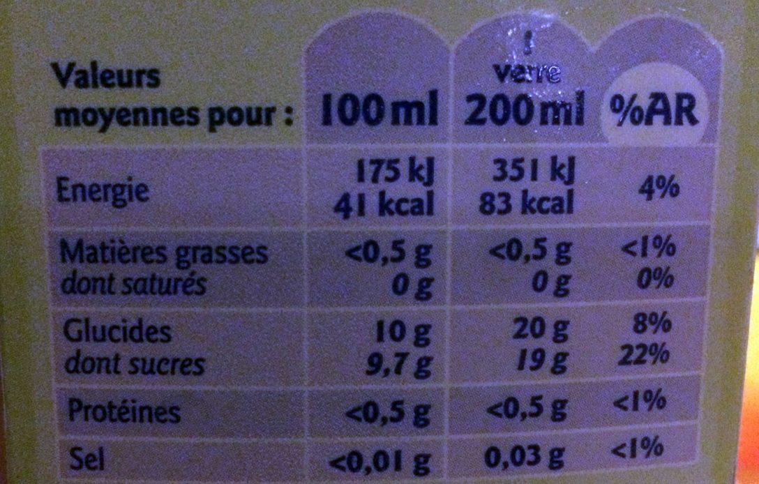 100% Pur fruit pressé Pomme - Valori nutrizionali - fr
